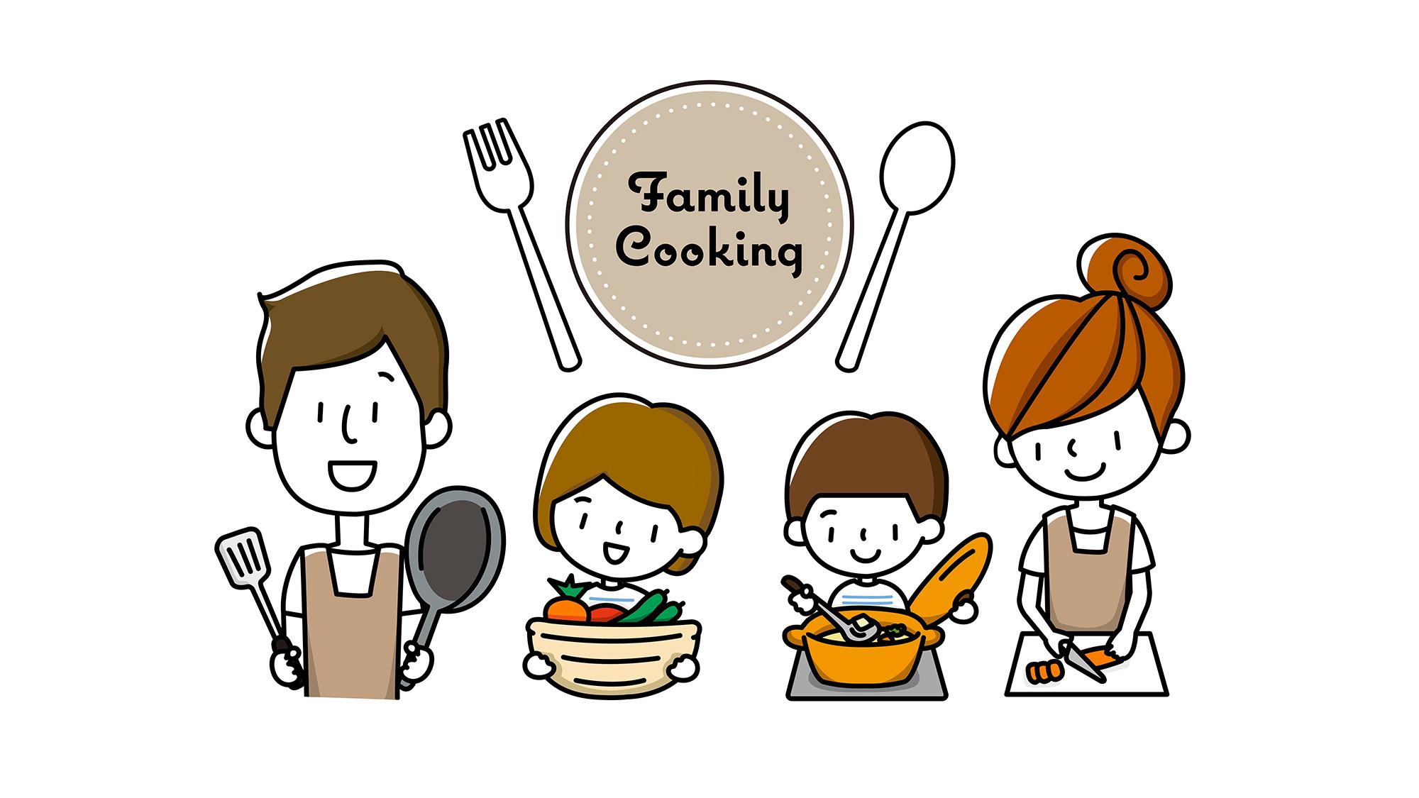 家族でク料理するイラスト